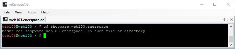 Linux Shell: Ausgabe des befehls cd mit Fehlermeldung