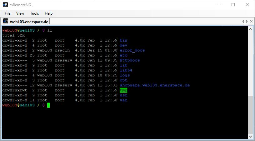 Linux Shell: Ausgabe des Befehls ll