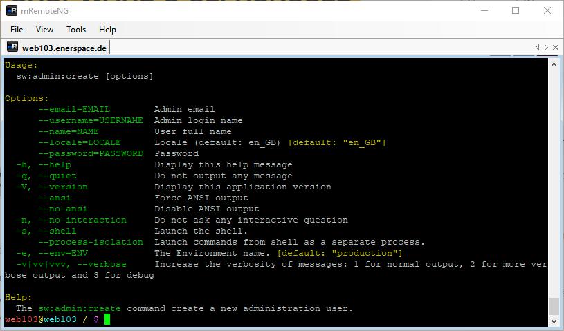 Linux Shell: Ausgabe des befehls sw:admin:create --help