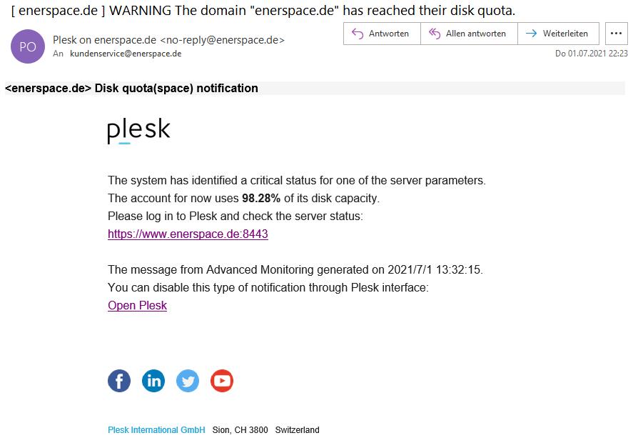 Beispiel einer Phishing Mail vom Plesk Panel